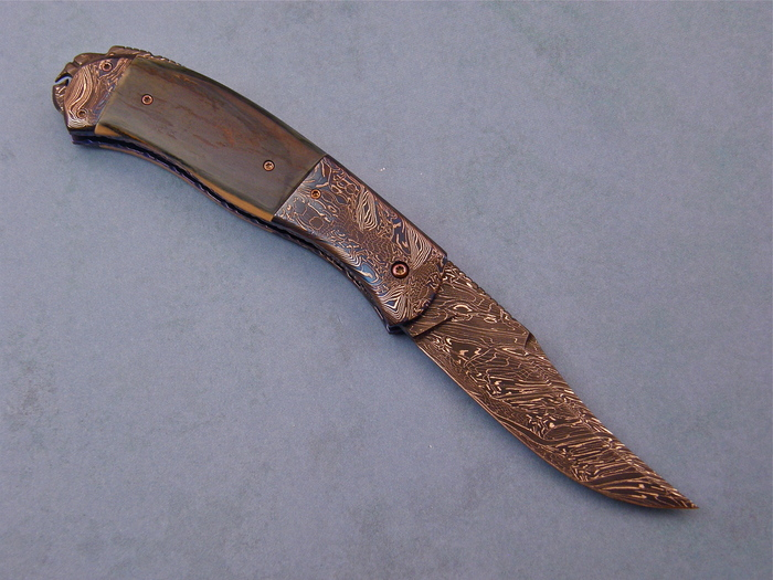Custom Folding-Bolster, Liner Lock, Damascus Steel by Maker, Fossilized Mammoth Knife made by Don  Hanson III