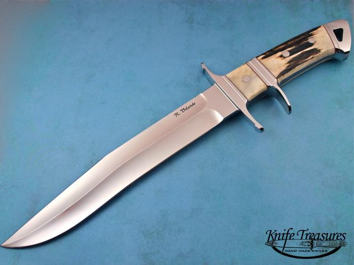 Custom Fixed Blade, N/A, 440-C Stainless Steel, Natural Stag Knife made by Ricardo  Velarde