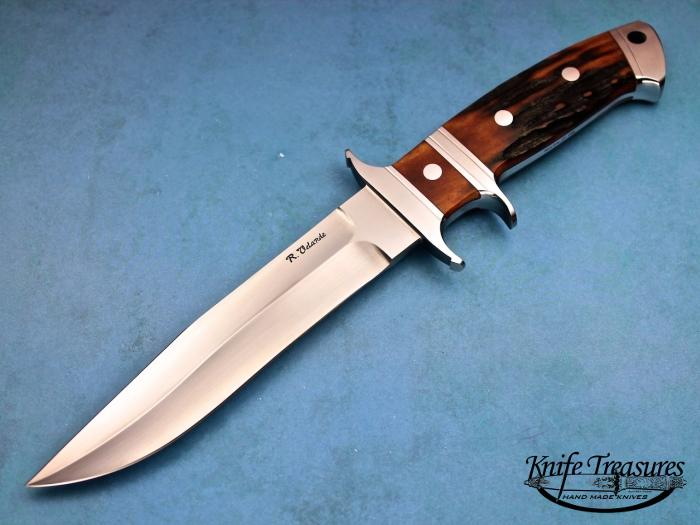 Custom Fixed Blade, N/A, BG-42 Stainless Steel, Red Amber Stag Knife made by Ricardo  Velarde