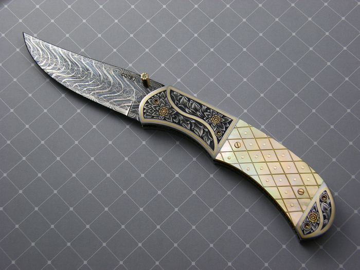 Custom Folding-Bolster, Liner Lock, Blued Damascus Steel, Checkered Gold Lip Pearl w/Gold Pins Knife made by Jerry Corbit