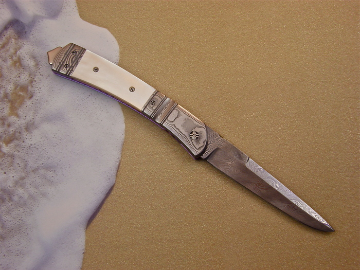Custom Folding-Bolster, Liner Lock, Damascus Steel, Mother Of Pearl Knife made by Jason Williams