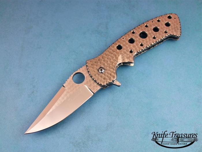 Custom Folding-Inter-Frame, Liner Lock, ATS-34 Stainless Steel, Machined Titanium Knife made by Pat & Wes Crawford