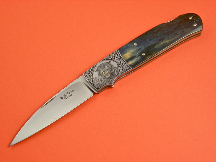 Custom Folding-Bolster, Lock Back, ATS-34 Steel, Mammoth Ivory Tooth Knife made by Bill  Pease