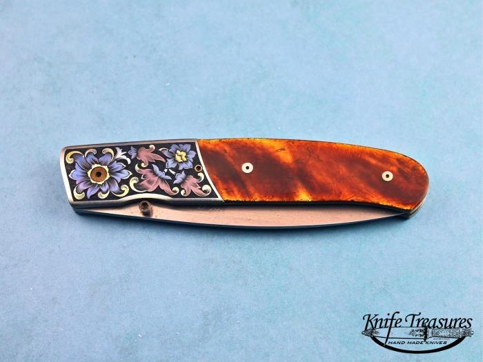 Custom Folding-Bolster, Liner Lock, ATS-34 Stainless Steel, Amber Scales Knife made by Bill  Pease