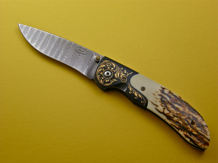 Custom Folding-Bolster, Liner Lock, Mike Norris Ladder Pattern Damascus Steel, Mammoth Ivory Knife made by Johnny  Stout