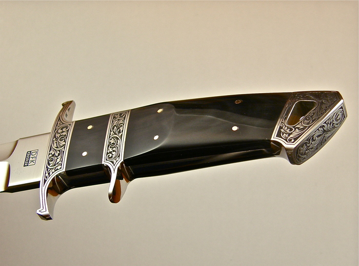 Custom Fixed Blade, N/A, RWL-34 Steel, Black Buffalo Horn Knife made by Dietmar Kressler