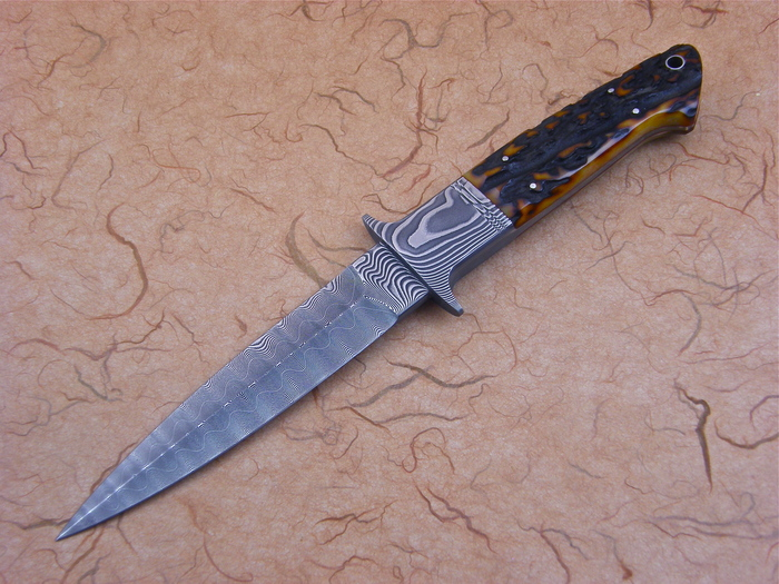 Custom Fixed Blade, N/A, Devin Thomas Damascus Steel, Amber Stag Knife made by Dietmar Kressler