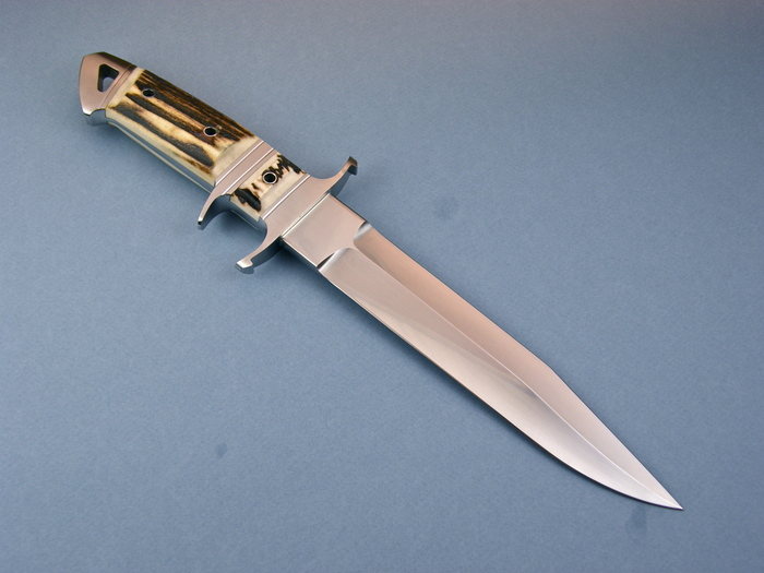Custom Fixed Blade, N/A, BG-42 Steel, Natural Stag Knife made by Dietmar Kressler