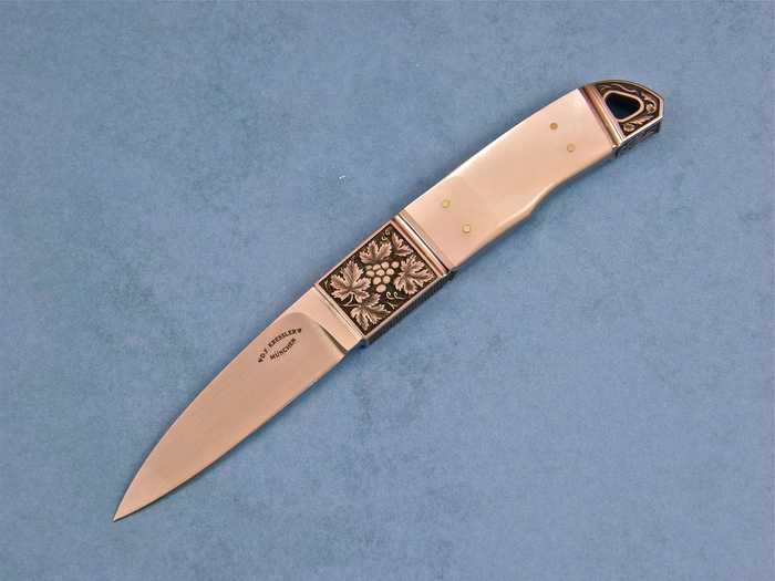 Custom Fixed Blade, N/A, BG-42 Stainless Steel, Mother Of Pearl Knife made by Dietmar Kressler