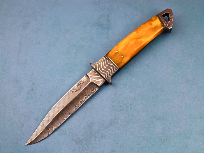 Custom Fixed Blade, N/A, Damascus Steel, Amber Knife made by Dietmar Kressler