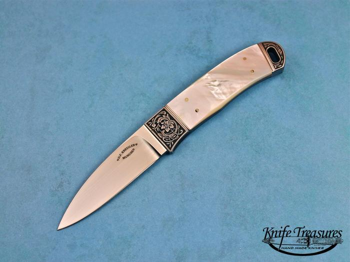 Custom Fixed Blade, N/A, RWL-34 Steel, Mother Of Pearl Knife made by Dietmar Kressler