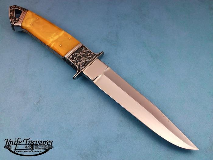 Custom Fixed Blade, N/A, BG-42 Stainless Steel, Amber Knife made by Dietmar Kressler