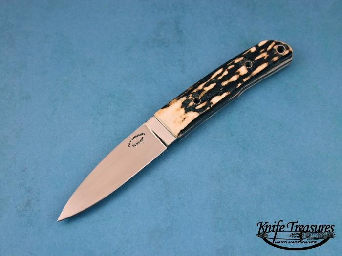 Custom Fixed Blade, N/A, RWL-34 Steel, Natural Stag Knife made by Dietmar Kressler