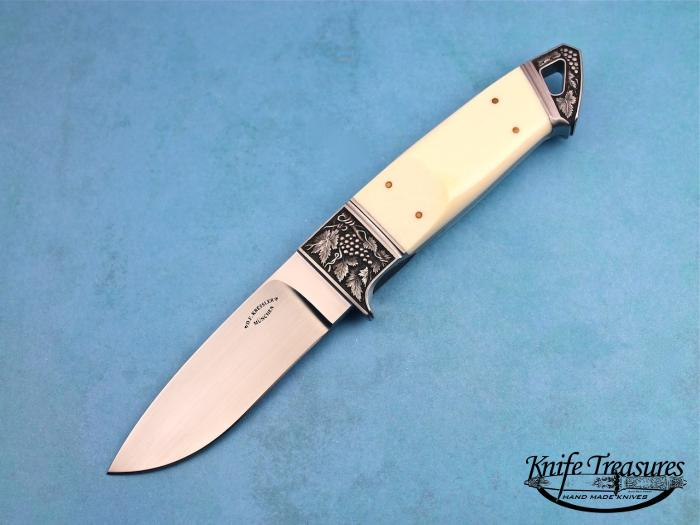 Custom Fixed Blade, N/A, RWL-34 Steel, Antique Ivory Knife made by Dietmar Kressler