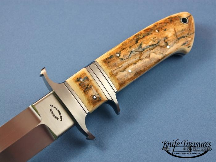 Custom Fixed Blade, N/A, BG-42 Steel, Bark Fossilized Mammoth Knife made by Dietmar Kressler
