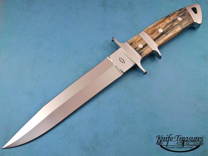 Custom Fixed Blade, N/A, RWL-34 Steel, Fosslized Mammoth Tooth Knife made by Dietmar Kressler