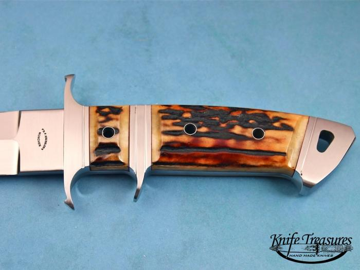 Custom Fixed Blade, N/A, RWL-34 Steel, Amber Stag Knife made by Dietmar Kressler