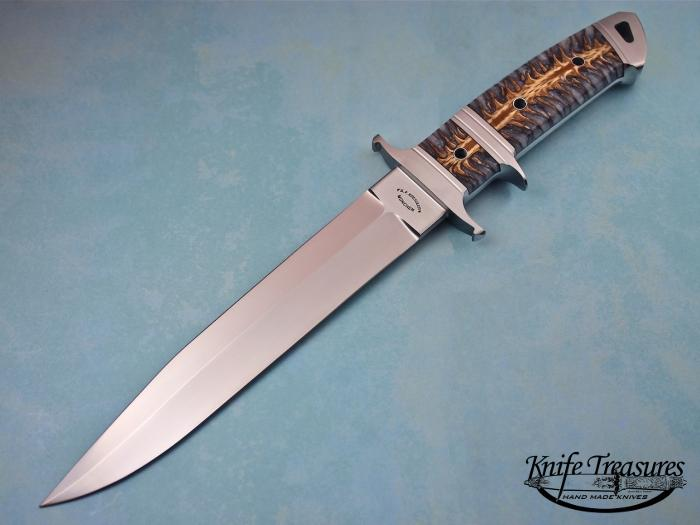 Custom Fixed Blade, N/A, RWL-34 Steel, S6abilized Pine Cone Knife made by Dietmar Kressler