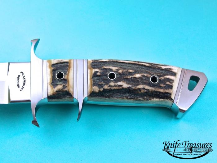 Custom Fixed Blade, N/A, RWL-34 Stainless Steel , Natural Stag Knife made by Dietmar Kressler