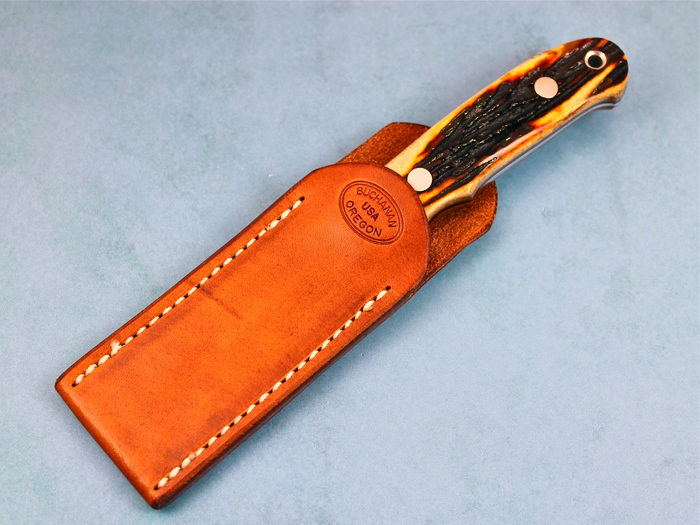Custom Fixed Blade, N/A, ATS-34 Stainless Steel, Amber Stag Knife made by Thad Buchanan