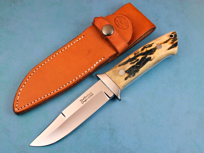 Custom Fixed Blade, N/A, ATS-34 Stainless Steel, Natural Stag Knife made by Thad Buchanan