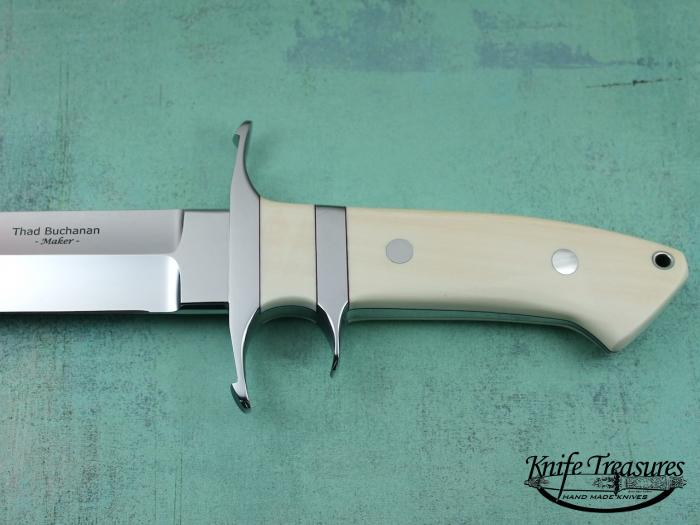 Custom Fixed Blade, N/A, ATS-34 Stainless Steel, Antique Ivory Knife made by Thad Buchanan