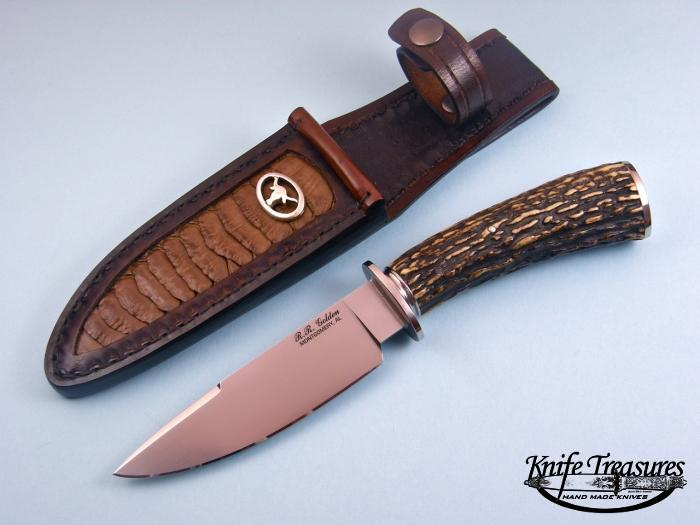 Custom Fixed Blade, N/A, ATS-34 Steel, Stag Knife made by Randy Golden