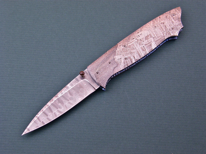 Custom Folding-Bolster, Liner Lock, Devon THomas Damascus Steel, Meteorite Knife made by Lloyd McConnell