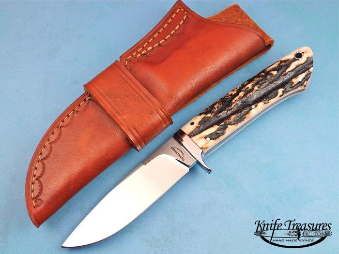 Custom Fixed Blade, N/A, 154 CM, Natural Stag Knife made by Schuyler Lovestrand