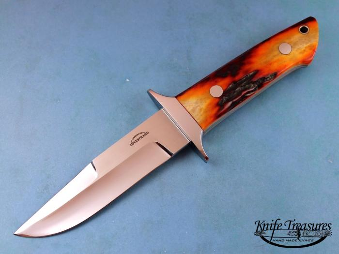 Custom Fixed Blade, N/A, 154 CM, Red Amber Stag Knife made by Schuyler Lovestrand