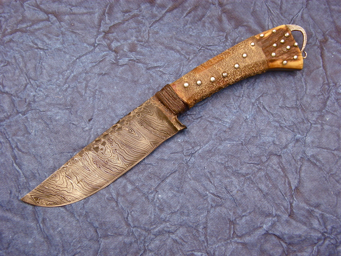 Custom Fixed Blade, N/A, Damascus Steel by Maker, Leather wrapped Elk Antler Stag Knife made by Daniel  Winkler