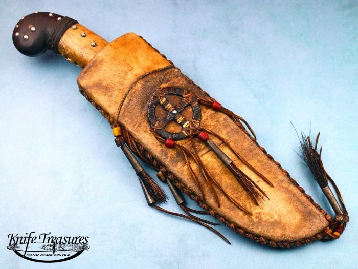 Custom Fixed Blade, N/A, Forged 1086 Carbon Steel, Curly Maple wrapped in rawhide with tacks Knife made by Daniel  Winkler