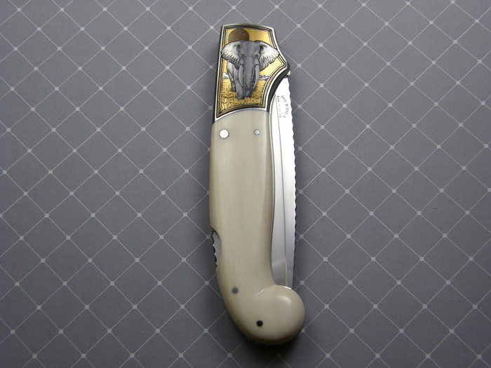 Custom Folding-Bolster, Lock Back, ATS-34 Steel, Antique Ivory Knife made by Joe Kious