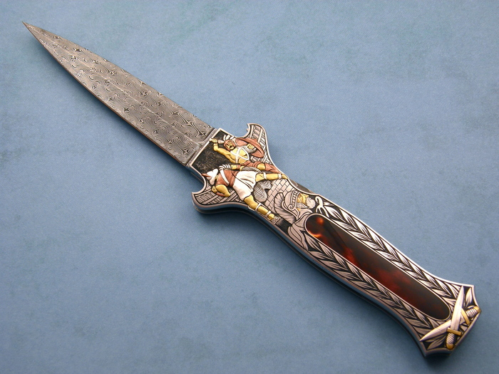 Custom Folding-Inter-Frame, Lock Back, Damascus Steel, Exotic Scales Knife made by Joe Kious