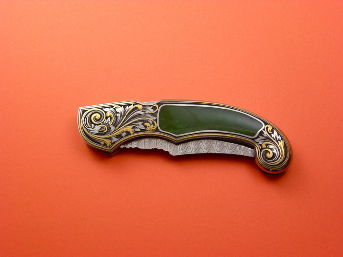 Custom Folding-Inter-Frame, Lock Back, Damascus Steel, Green Apple Jade Knife made by Joe Kious