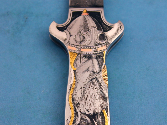 Custom Folding-Inter-Frame, Lock Back, Jerry Rados Turkish Twist Damascus, 416 Stainless Steel Knife made by Joe Kious