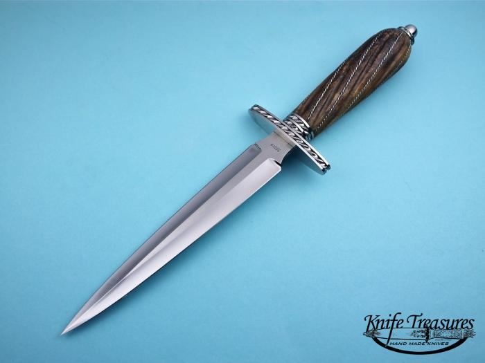 Custom Fixed Blade, N/A, ATS-34 Stainless Steel, Fluted Mammoth Ivory w Silver wire Knife made by Joe Kious