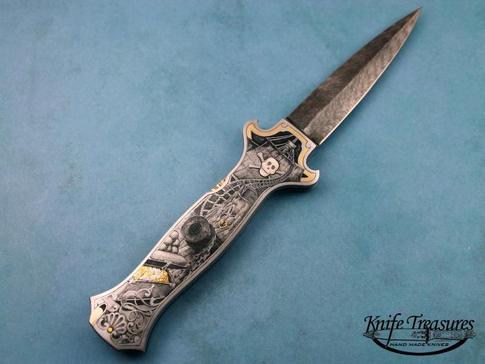 Custom Folding-Inter-Frame, Lock Back, Jerry Rados Turkish Twist Damascus, 416 Stainless Steel--Double Pocket Locket Knife made by Joe Kious