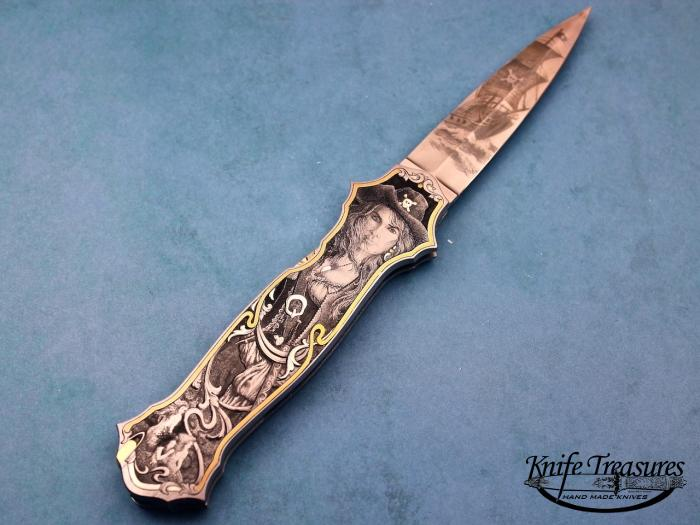 Custom Folding-Inter-Frame, Mid-Lock, ATS-34 Stainless Steel, 416 Stainless Steel Knife made by Joe Kious
