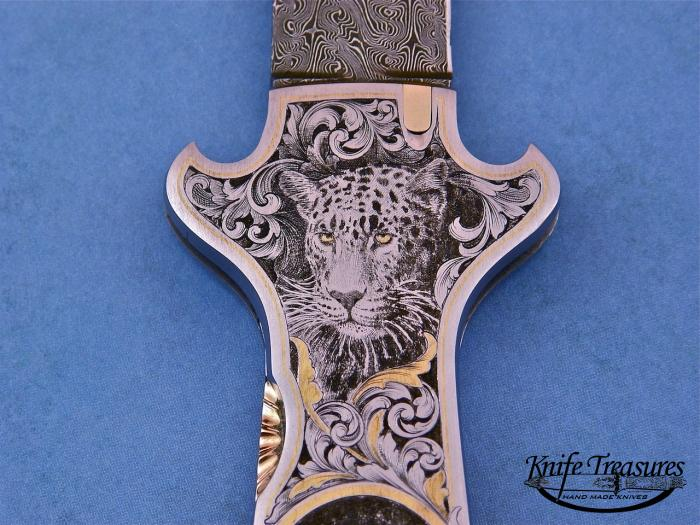Custom Folding-Inter-Frame, Lock Back, Jerry Rados Turkish Damascus, 416 Stainless Steel Knife made by Joe Kious