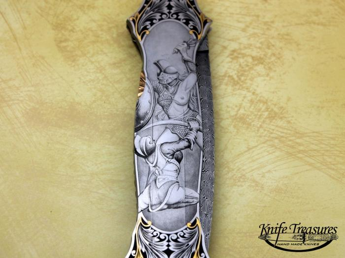 Custom Folding-Inter-Frame, Mid-Lock, Jerry Rados Turkish Damascus, 416 Stainless Steel Knife made by Joe Kious