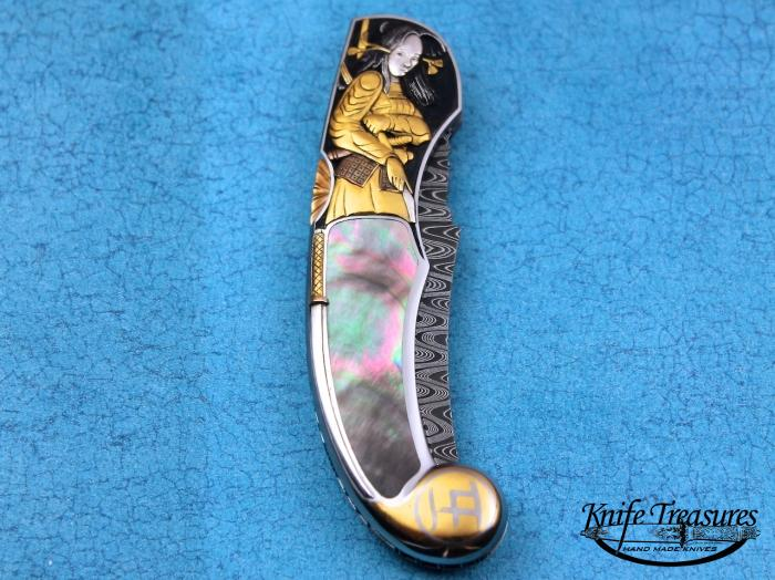 Custom Folding-Inter-Frame, Mid-Lock, Twist Pattern Damascus , Black Lip Pearl Knife made by Joe Kious