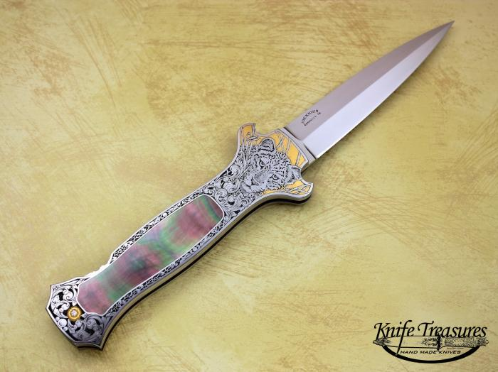 Custom Folding-Inter-Frame, Lock Back, ATS-34 Stainless Steel, Black Lip Pearl Knife made by Joe Kious