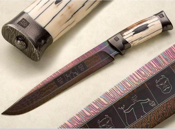 Custom Fixed Blade, N/A, Damascus Steel by Maker, Fossilized Walrus Ivory Knife made by Connie Person