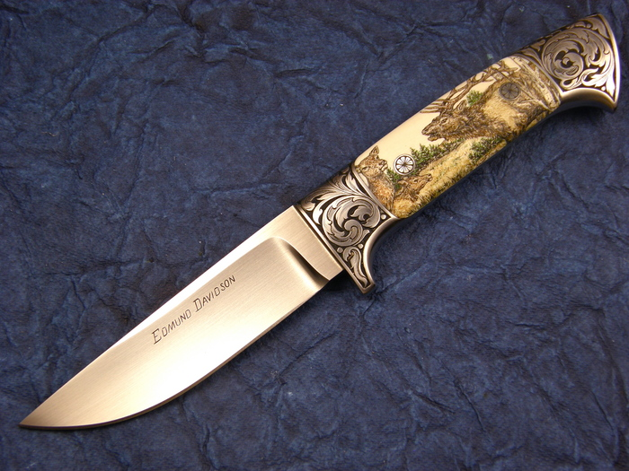 Custom Fixed Blade, N/A, BG-42, Antique Ivory Knife made by Edmund Davidson