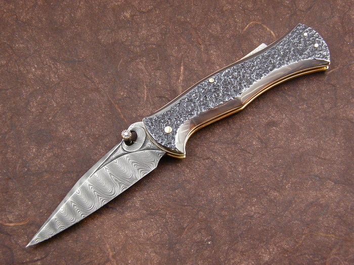 Custom Folding-Inter-Frame, Lock Back, Damascus Steel, Wagon Wheel Steel Knife made by Larry Fuegen