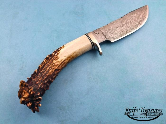 Custom Fixed Blade, N/A, Damascus Steel by Maker, Goblin Head Crown Stag Knife made by Larry Fuegen