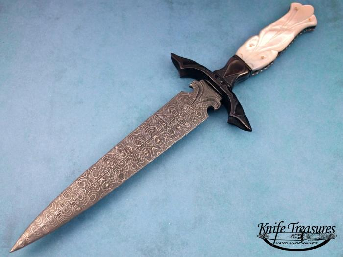 Custom Fixed Blade, N/A, Devin Thomas Ladder Pattern Damascus, Carved Mother Of Pearl W/Gold Pins Knife made by Larry Fuegen
