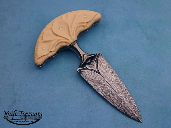 Custom Fixed Blade, N/A, Carved Damascus by Maker, Carved Fossilized Mammoth Knife made by Larry Fuegen