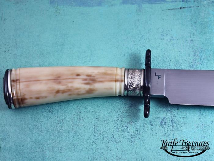 Custom Fixed Blade, N/A, Handforged Carbon Steel, Fossilized Walrus  Knife made by Larry Fuegen